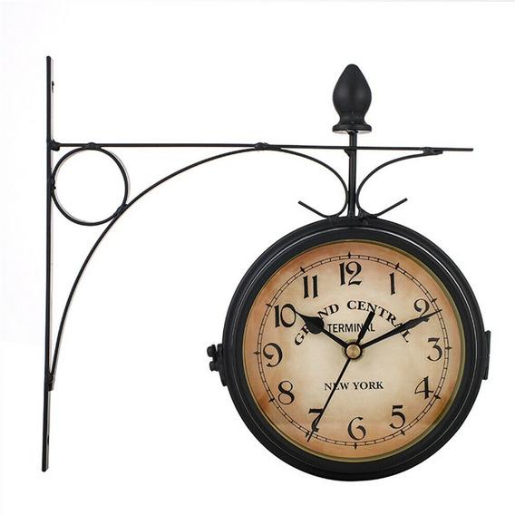 Retro De Doble Cara Pared Montaje Estación Reloj Vintage Ny