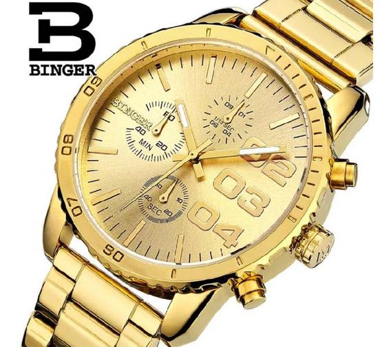 Relógio Binger Original Com Box Dourado
