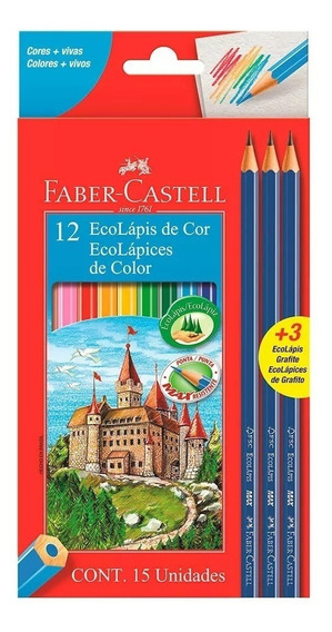 Lapices De Color Faber Castell X12 Colores +3 Lápices Gratis