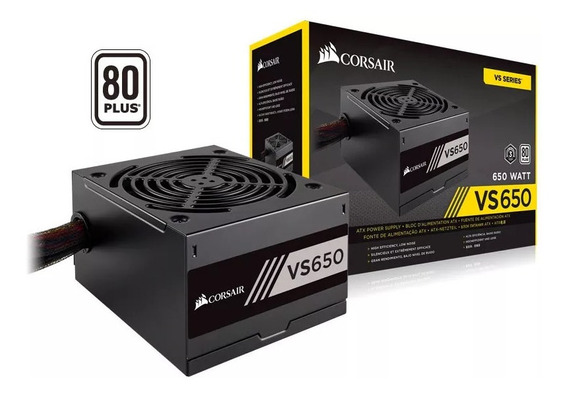 Fonte Gamer Corsair Vs650 650w Reais 80plus Pfc Ativo Nova