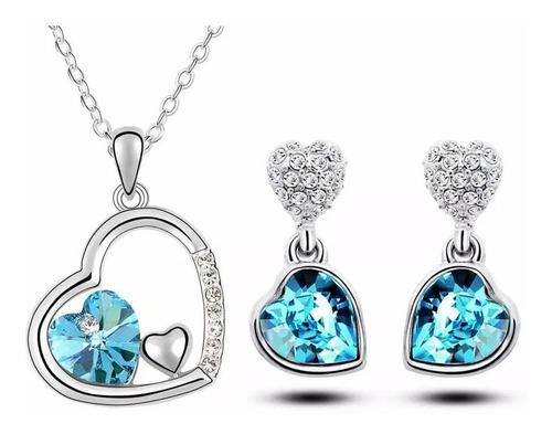 Collar Y Aretes De Cristal Doble Corazón Para Mujer
