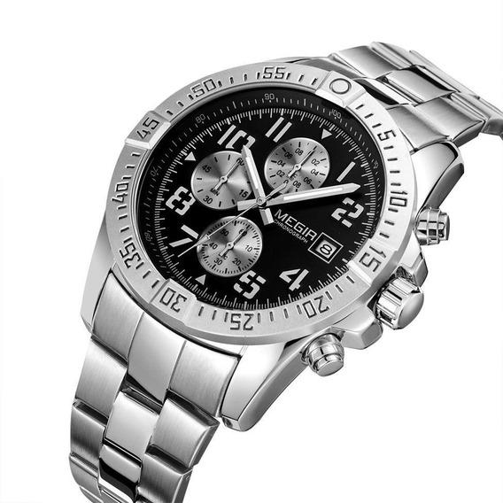 Relógio Megir 2030 Original Luxo Estojo Nota Fiscal Promoção