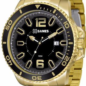 Relógio X Games Caixa Super Grande Dourado V Preto + Frete