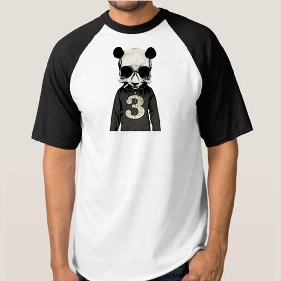 Camiseta Mescla Branca Com Manga Preta Urso Caveira
