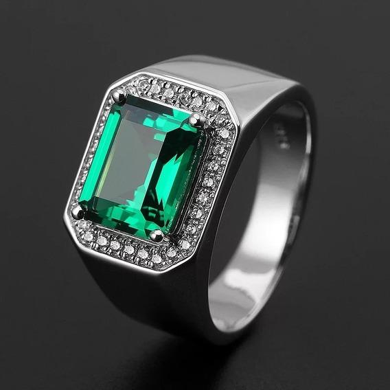 Anel Formatura Pedra Verde Esmeralda Banhado Unissex Cursos