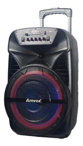 Caixa de som Amvox Power X ACA 380 Viper portátil com bluetooth  preta 110V/220V