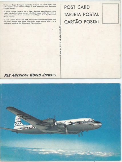 Antigua Postal Avión Clipper Super 6, Pan American