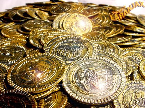 Tesouro 30 Moedas Pirata Ouro Envelhecido, Navio, Baú Festa