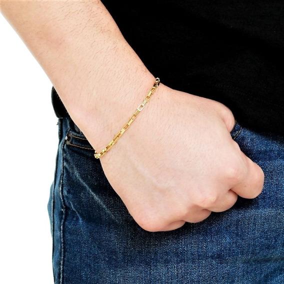Pulseira Masculina Feminina 18cm 3mm Banhada Á Ouro
