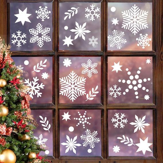 Vinil Estatico Decorativo Navidad Copos De Nieve Reusable