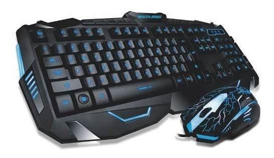 Combo Teclado E Mouse Gamer Detalhes Azuis Multilaser