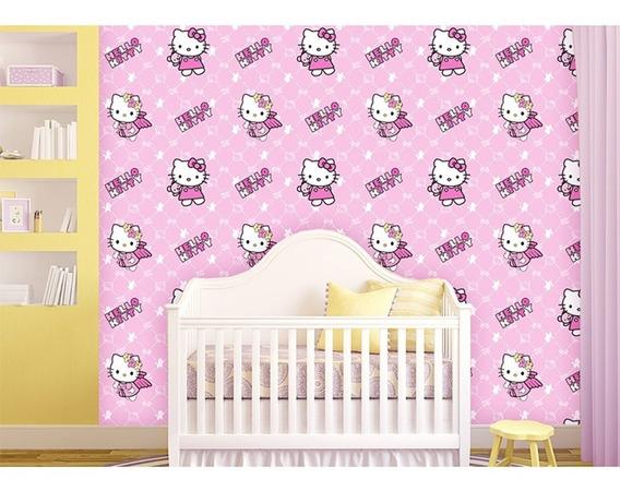 Papel Tapiz Premium Hello Kitty Autoadherible 10 Mts X 45 Cm
