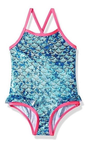 Traje Baño Bebes Sirenita Mermaid. Americano Pink Platin