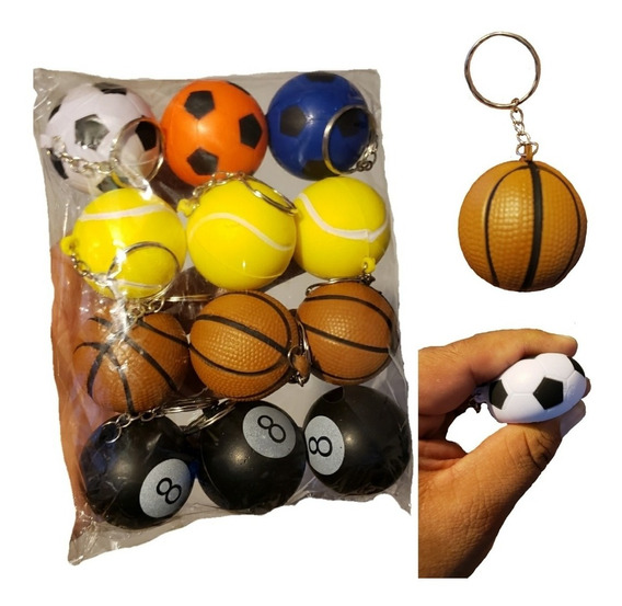 Llavero Balones Anti Estrés Paquete 12 Pzas