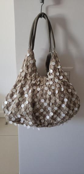 Bolsa Em Tecido Com Madrepérolas