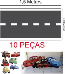 10 Display De Chão Carros Disney Novo + Tapete Pista