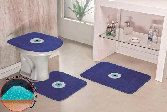 Kit Banheiro Bordado Olho Grego 3pçs Anti-derrapante Sorte