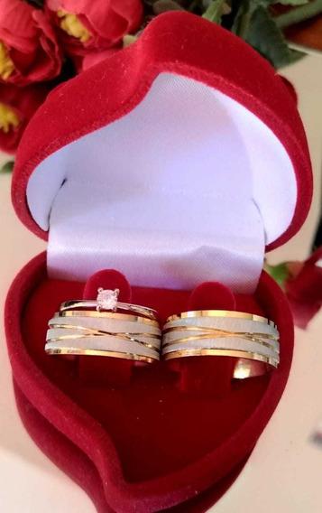 Alianças De Material Tungstênio Banhada A Ouro