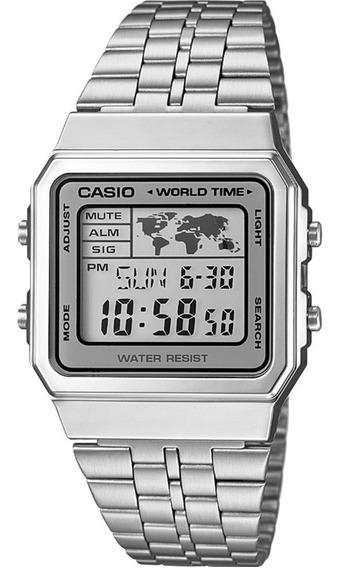 Relógio Casio Vintage Prata Mapa Mundial A500wa-7df Original