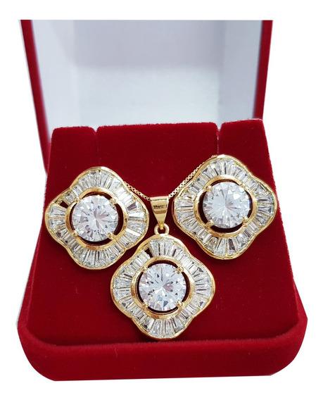 Colar Feminino Cristal Austríaco Semi Joia Folheado Ouro 18k