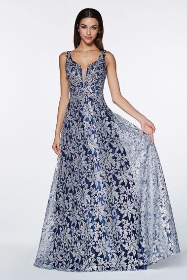 Vestido Largo Corte A Bordado/glitter Marino/plata Tallas