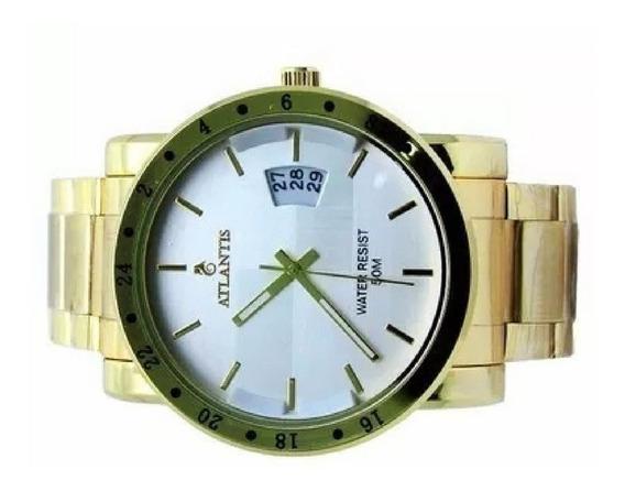 Relógios Masculinos Quartz Ñ Automatico Original Dourado Aço