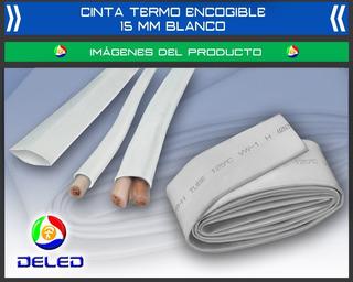 5 Metros De Cinta Termo-encogible/ajustable De 15 Mm Blanco