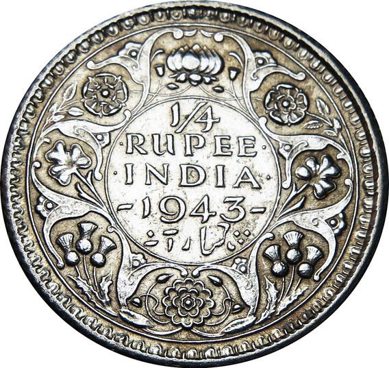 .: British India 1/4 Rupia 1943 Plata :.