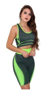 Conjunto Bermuda + Top Ciclista Fitness Feminina Ref:852