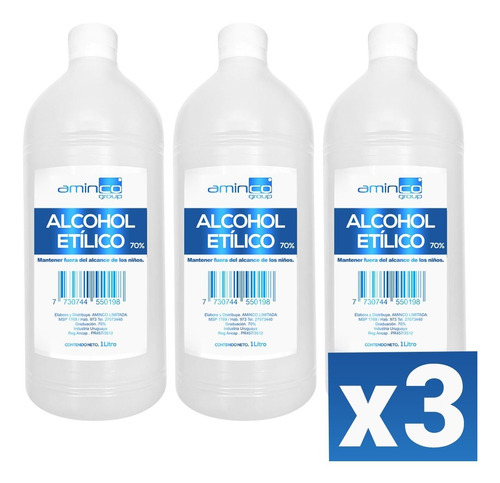 X3 Alcohol Líquido Rectificado 1 Lt Al 70%