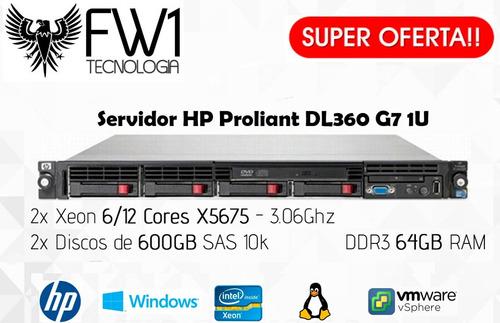 Imagem 1 de 5 de Servidor Hp Proliant Dl360 G7- 2 Hds 600gb/ 2 Six Core/ 64gb