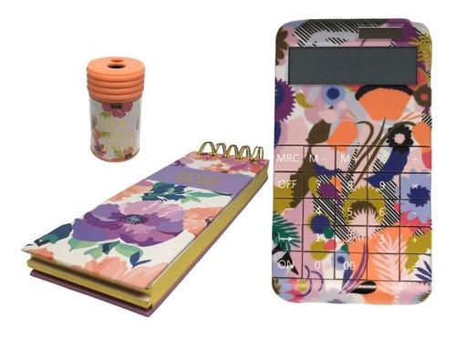 Imagen 1 de 10 de Kit De Oficina Calculadora Libreta Y Sacapuntas Flores Bello