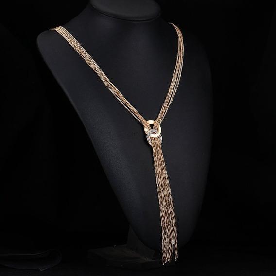 Lindo Colar Corrente Comprido Dourado Strass Luxo Fashion
