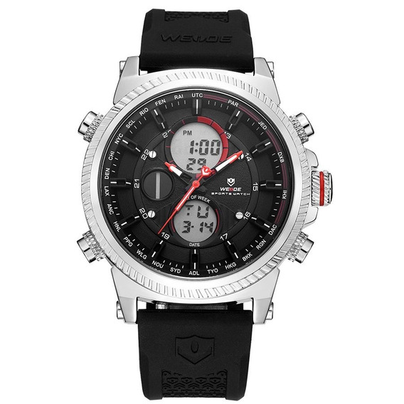 Relógio Masculino Weide Anadigi Wh6403 Preto E Prata
