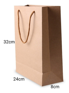 Pack 12 Bolsa Papel Kraft 24×32×8 Reciclable / 154002