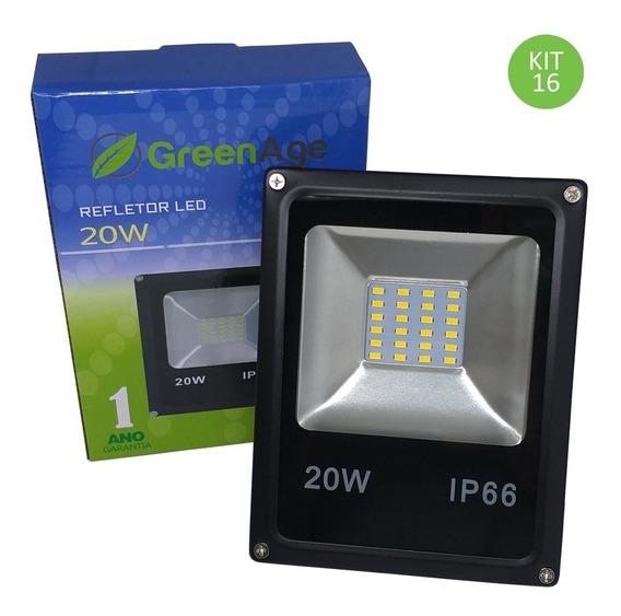 Refletor Led Smd 20w Branco Quente Ip66 Bivolt Kit 16