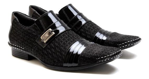 Sapato Social Masculino Couro Legítimo Calvest Com Detalhes