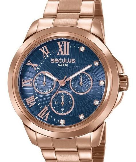 Relógio Seculus Feminino Rose Gold Multifução Original