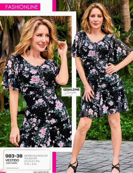 Vestido Con Forro Negro 983-38 Cklass Primavera-verano 2020