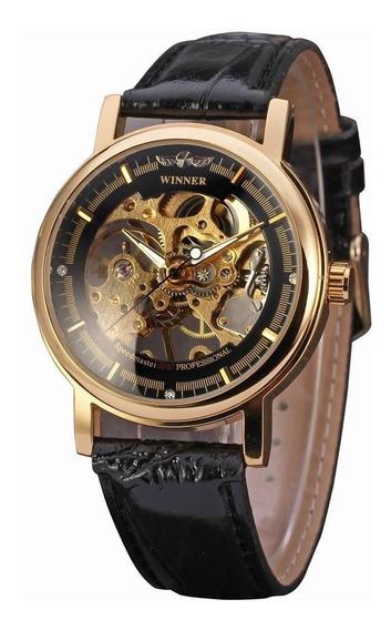 Reloj Winner Hombre Skeleton Mecanico Cuerda Correa Piel 07