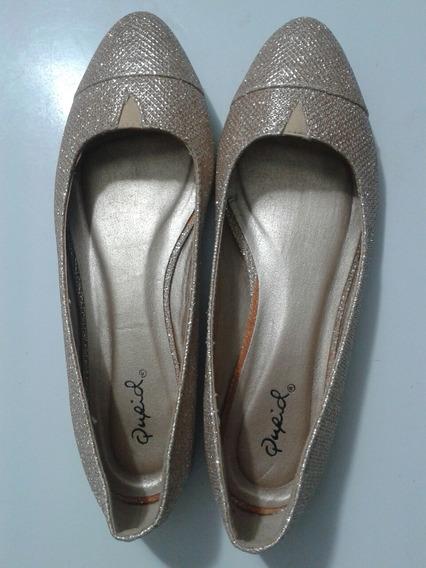 Zapatos De Damas Dorados Escarchados