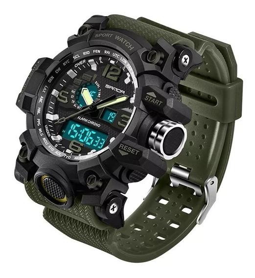 Relógio Militar Masculino Sanda 742 Verde Exército + Frete G