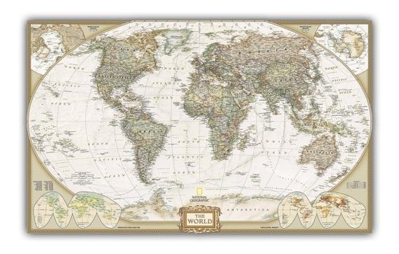 Mapa Mundi Gigante Hd 65x100cm Enfeite Para Casa