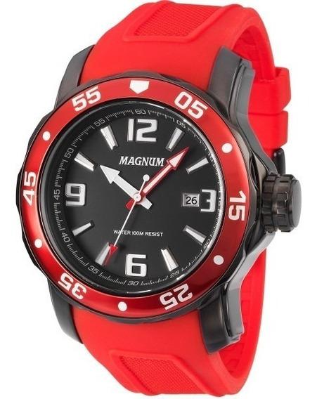 Relógio Magnum Ma31908 Oversized Preto / Vermelho