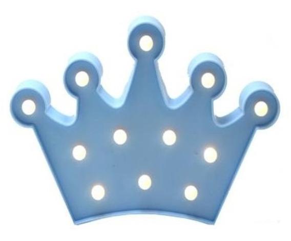 Decoração Enfeite Luminária Led Coroa Chá Bebê Príncipe Azul