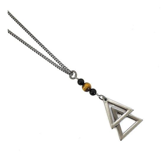 Corrente Masculina Colar De Triangulo Duplo Tribal Pedras