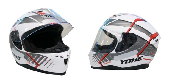 Capacete Modelo Tronik 967 Branco / Preto / Vermelho - Yohe
