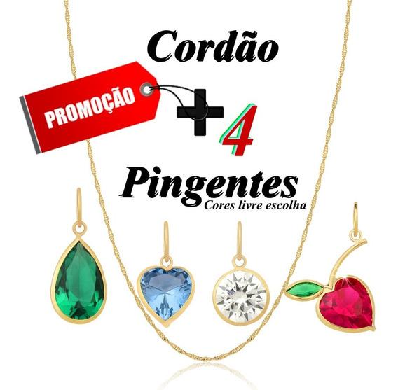Corrente Feminina 45cm Ouro 18k + 4 Pingentes Sortidos