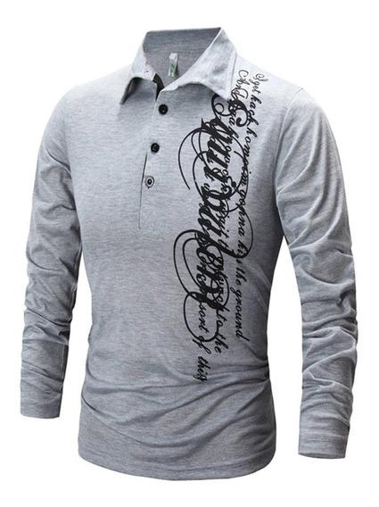 Camisa De Hombre De Impresión De Manga Larga Blusa Masculina