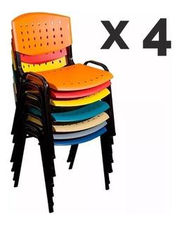 Pack X 4 Sillas Fijas Apilables